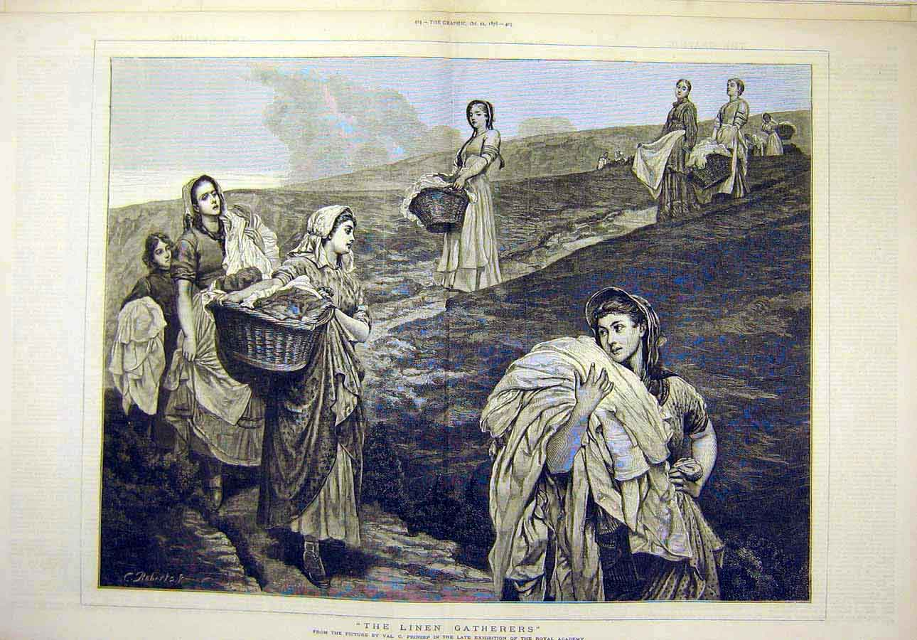 Print 1876 Linen Gatherers Prinsep Fine Art Women 77T8071 Old Original