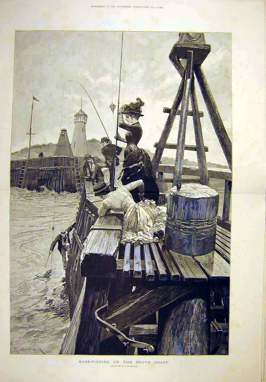 Print 1885 Bass-Fishing South-Coast Woodville Fishermen 79T8071 Old Original