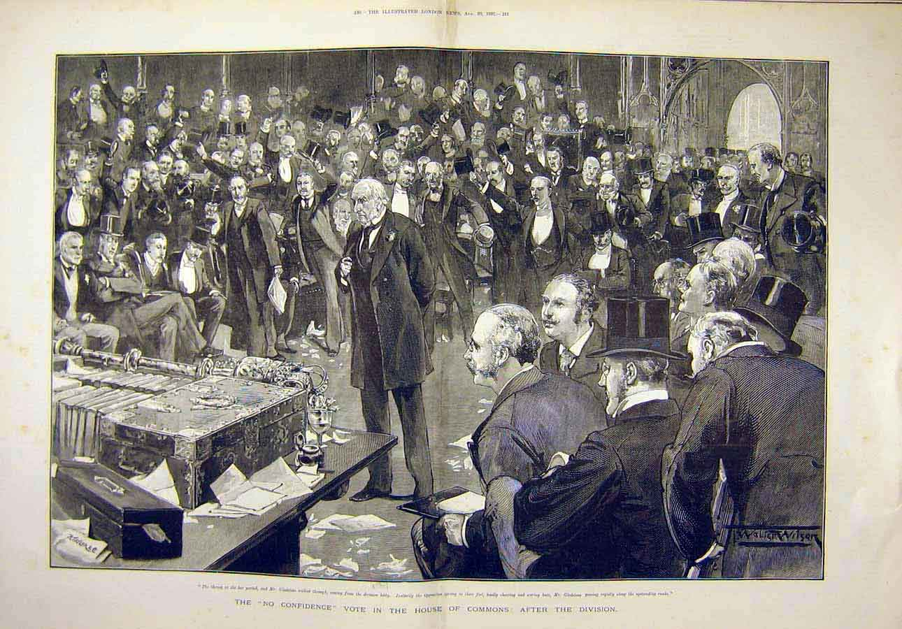 Print 1892 No-Confidence Vote House Commons Gladstone 85T8071 Old Original