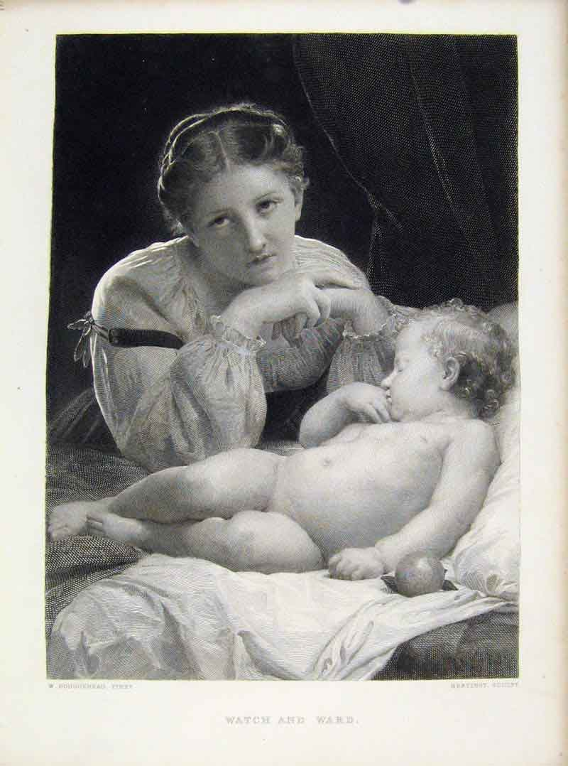 Print Watch And Ward Steel Engraving Mother Child C1877 208081 Old Original