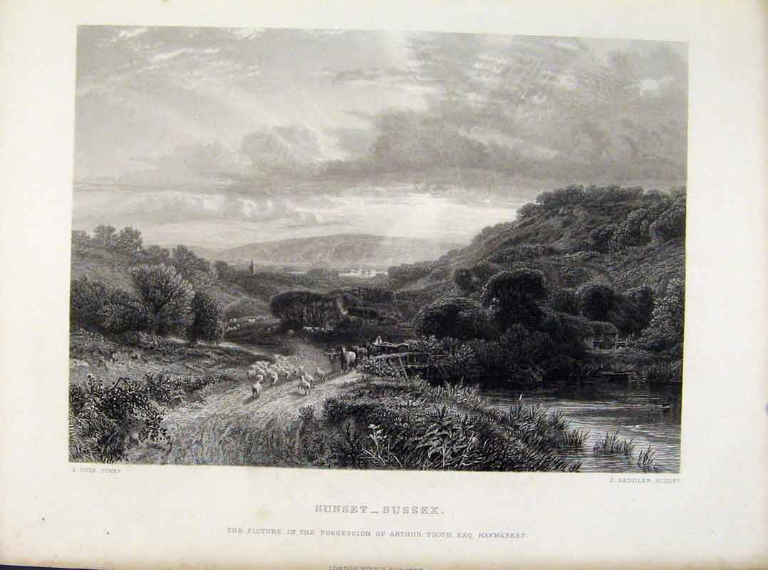 Print Sunset Sussex Steel Engraving By Cole C1877 268081 Old Original