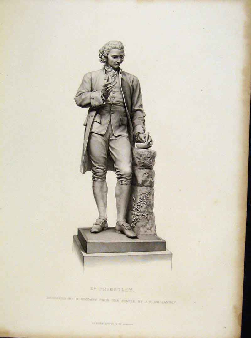 Print Dr Priestley Statue Engraved By Stodart C1877 358081 Old Original