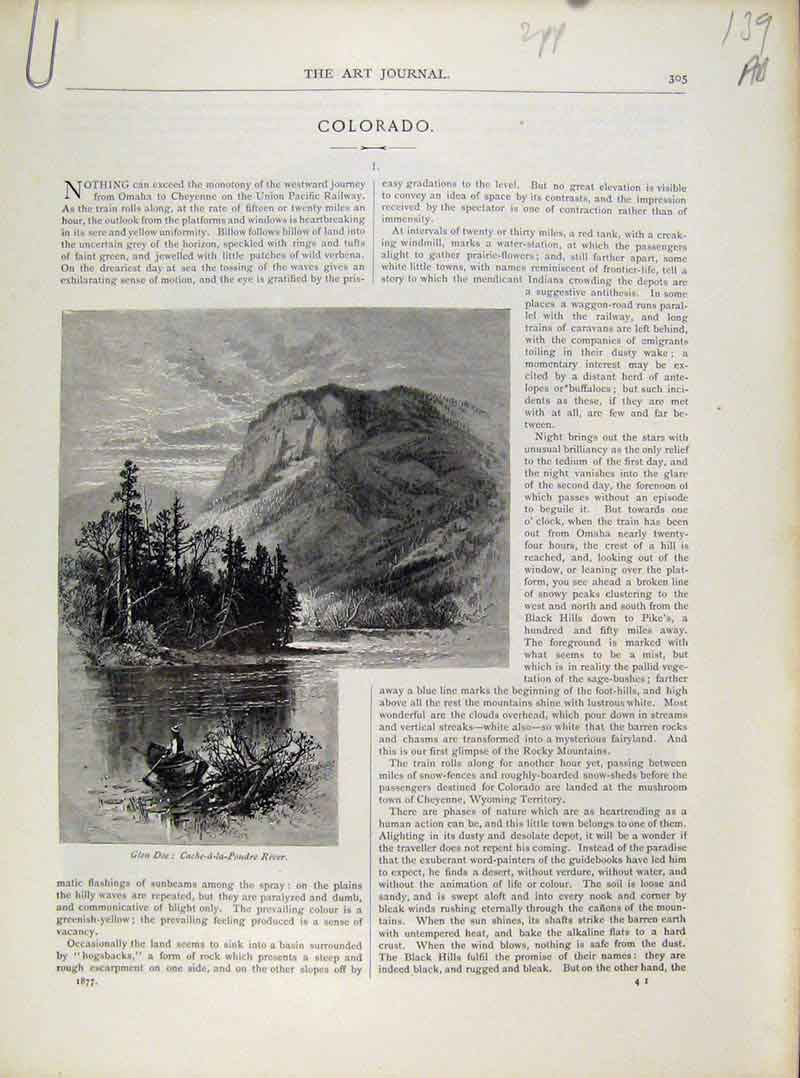 Print Colorado Engravings C1877 Art Journal 39A8081 Old Original
