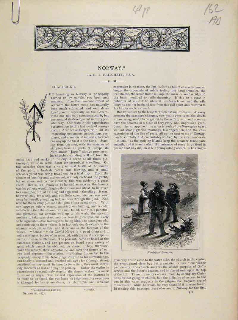 Print Art Journal Norway C1877 Engraving 62A8081 Old Original