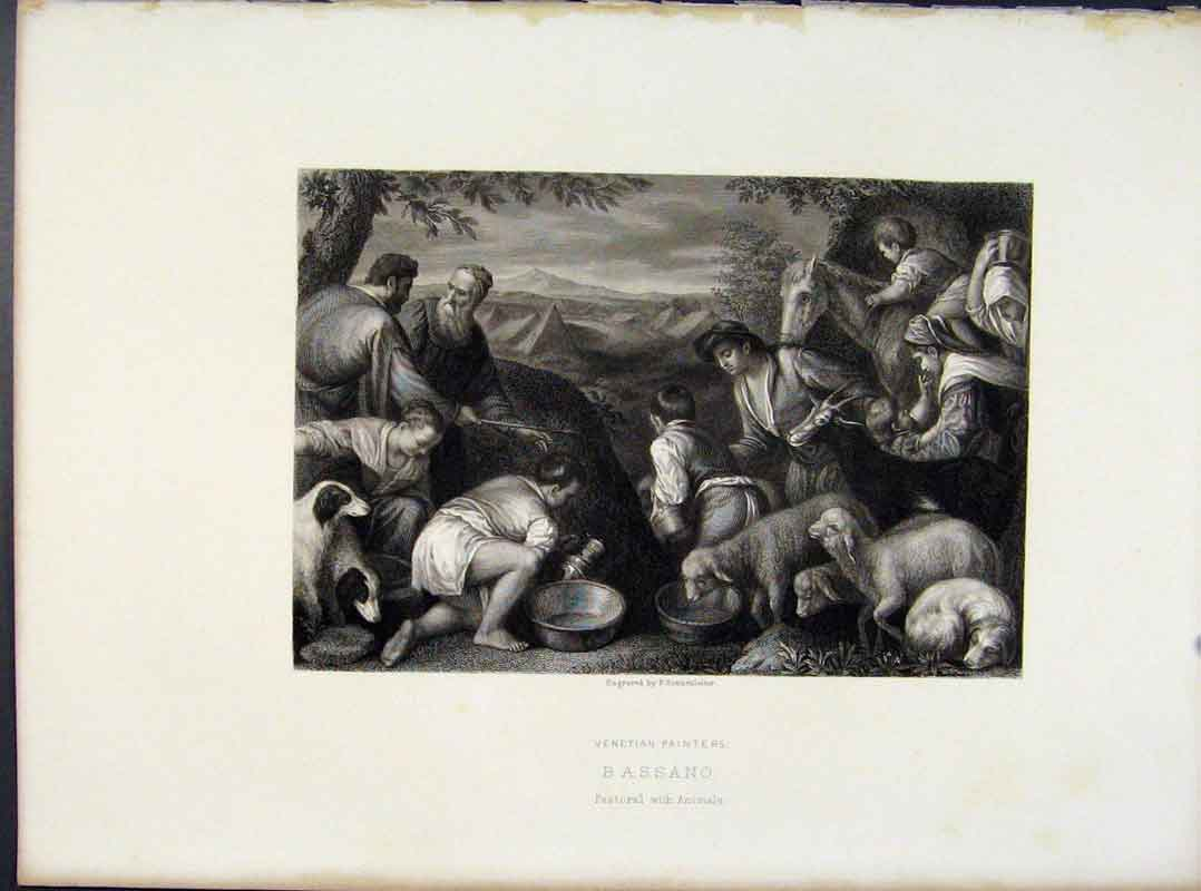 Print Venetian Painters Bassano Pastoral Animals C1874 018091 Old Original