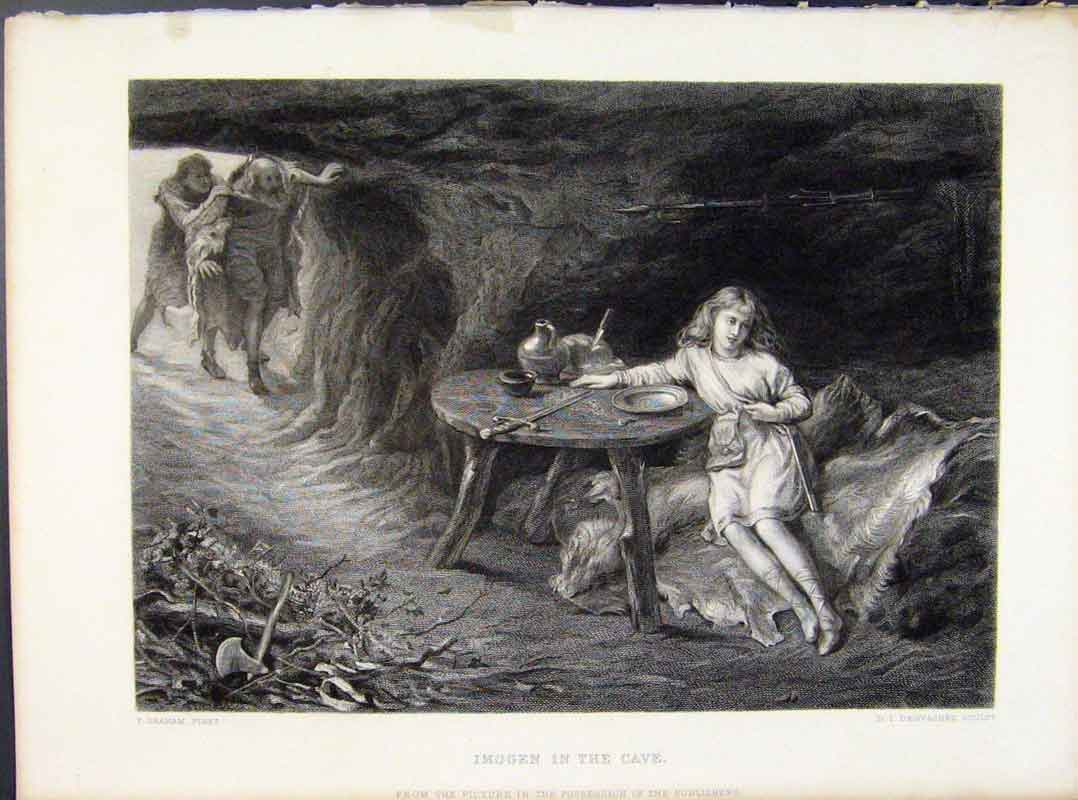 Print Steel Engraving By Graham Imogen In Cave 1874 028091 Old Original