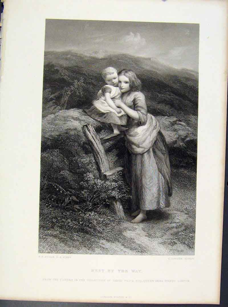 Print Steel Engraving By Poole Rest By The Way Mother Child 048091 Old Original