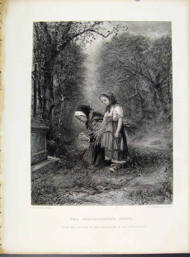 Print Engraved The Grandfathers Grave C1874 Art 118091 Old Original