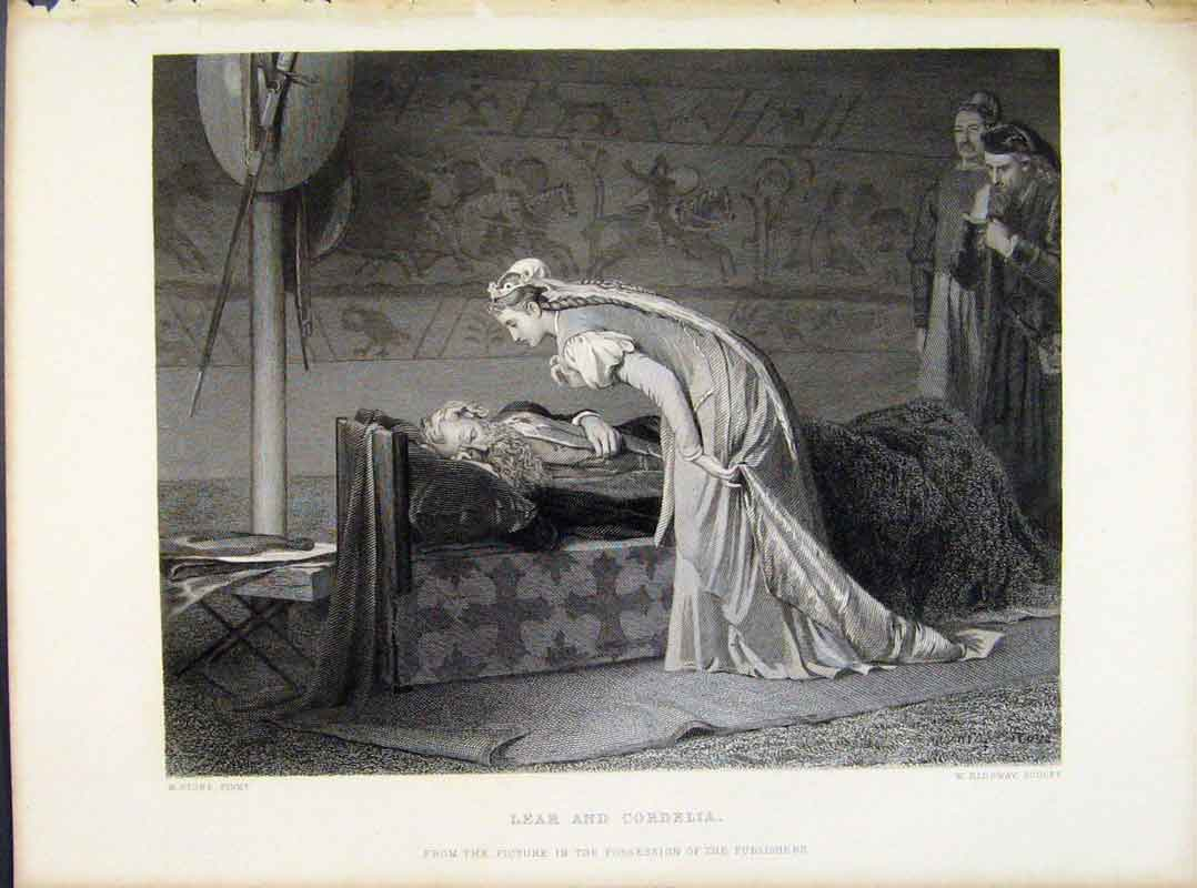 Print Lear Cordelia C1874 Steel Engraved By Stone 128091 Old Original