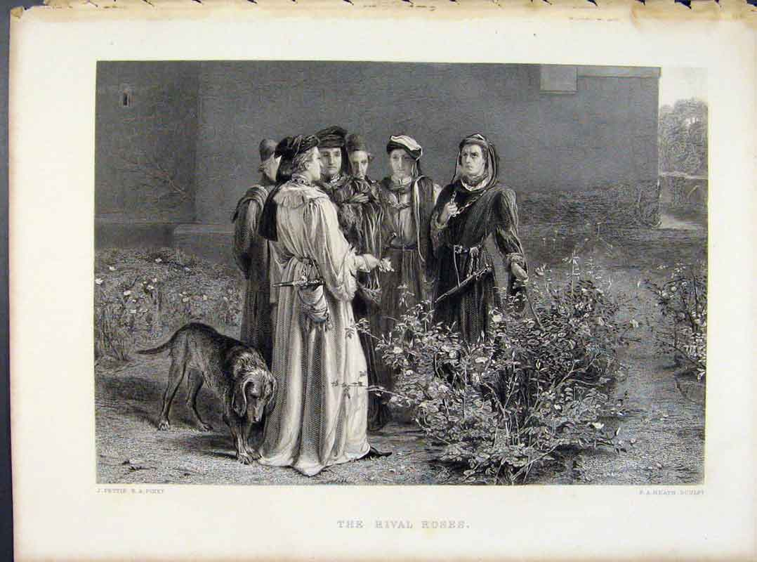 Print Steel Engraving By Pettie The Rival Roses C1874 198091 Old Original