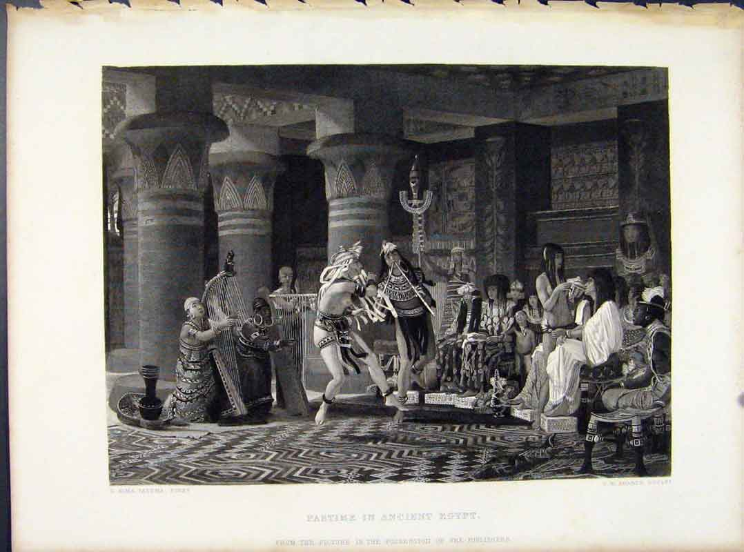 Print Pastime In Ancient Egypt Steel Engraving Art 218091 Old Original