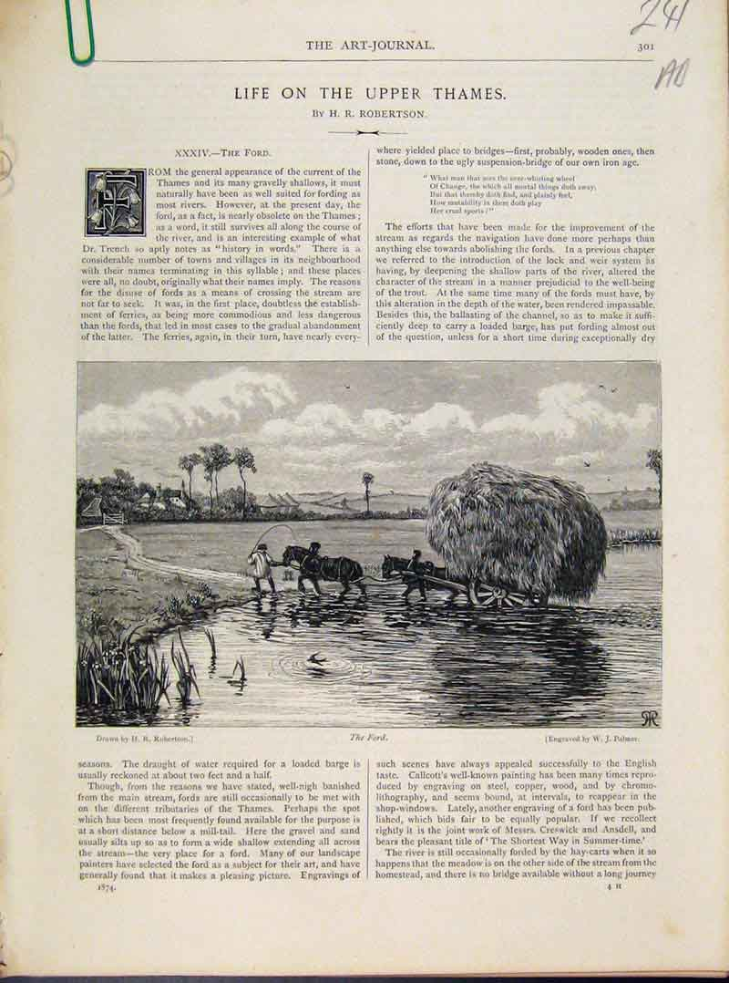 Print Life On Upper Thames Art Journal C1874 Fine 41A8091 Old Original