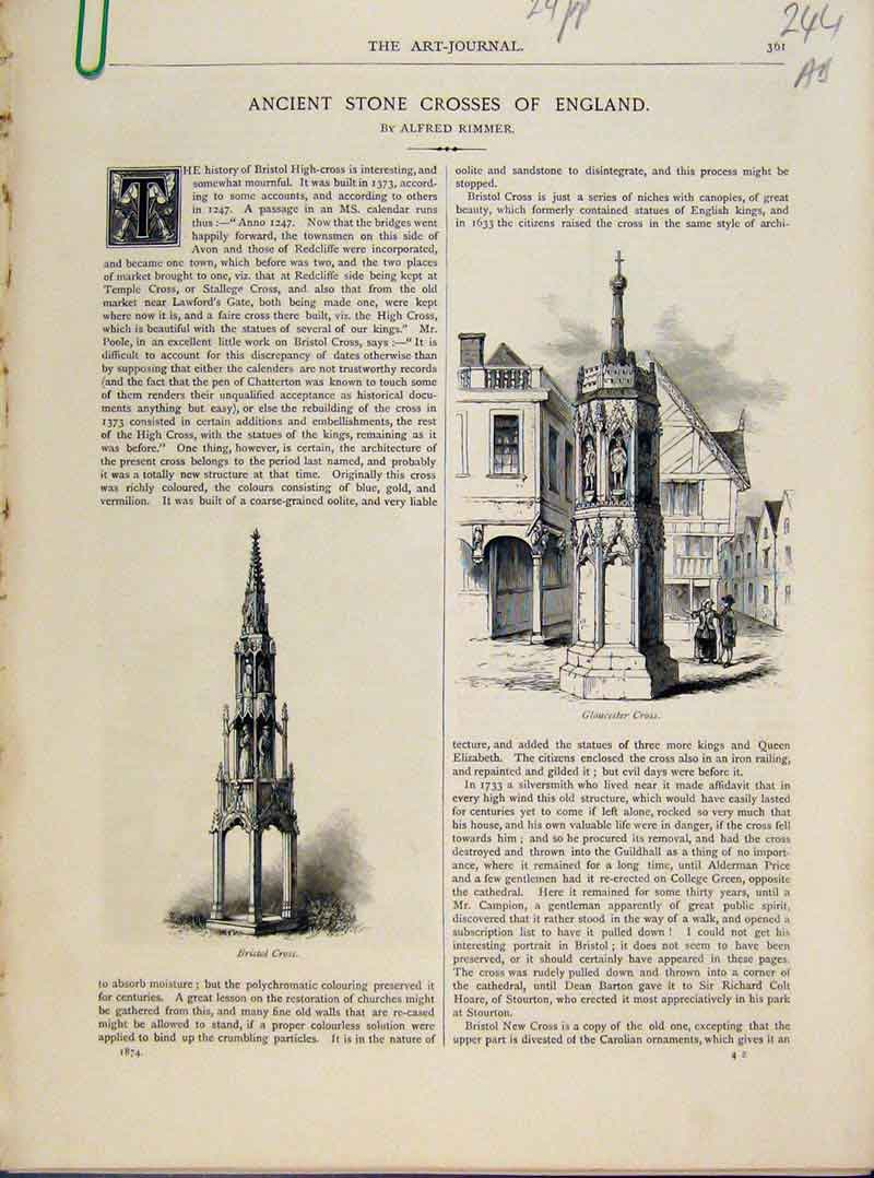 Print Ancient Stone Crosses England Art Journal C1874 44A8091 Old Original