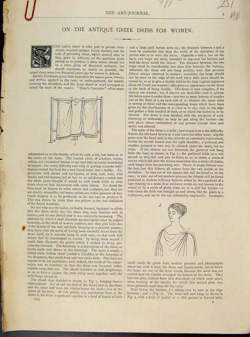 Print Art Journal Greek Dress Women C1874 51A8091 Old Original