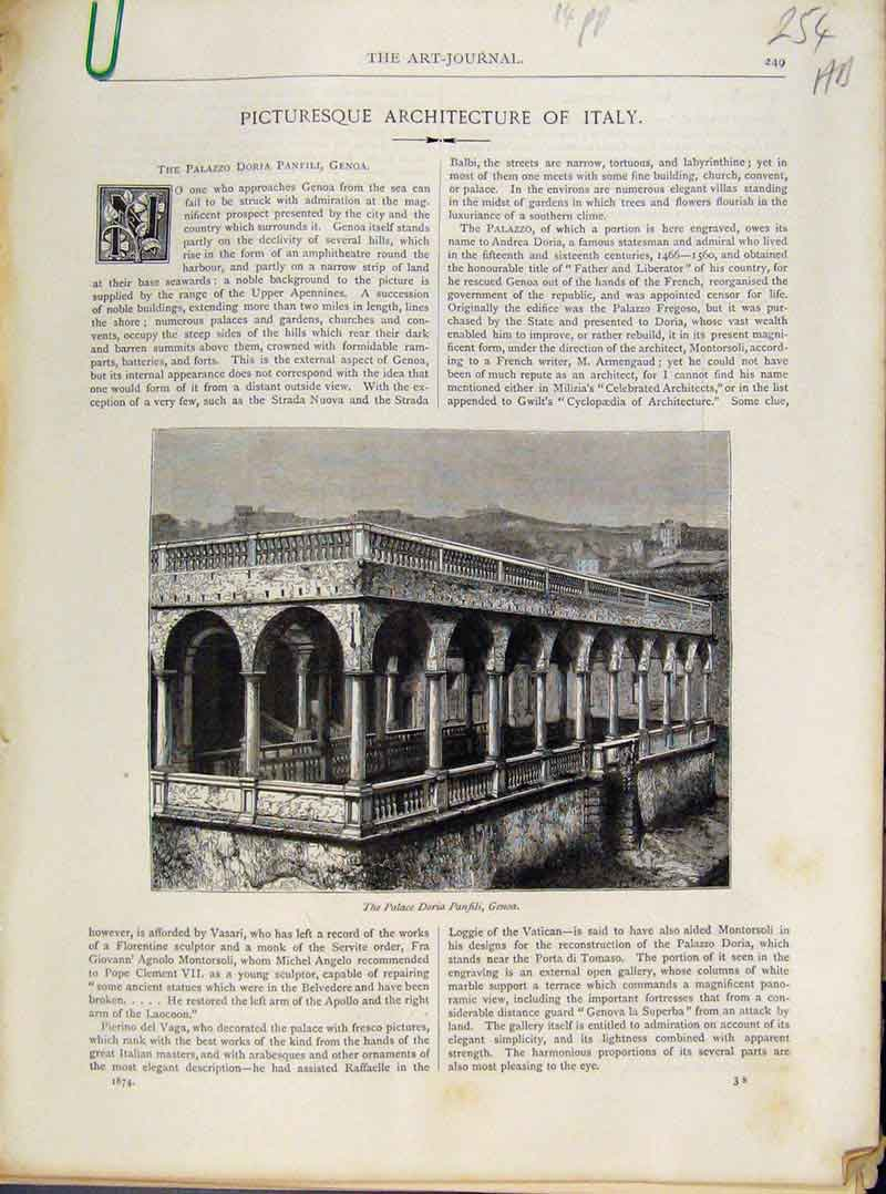 Print Art Journal Picturesque Awrchitecture Italy C1874 54A8091 Old Original