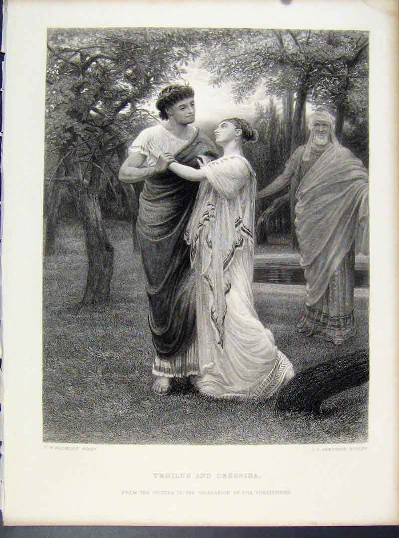 Print Troilus Cressida Fine Art Engraved By Bromley C1873 038101 Old Original