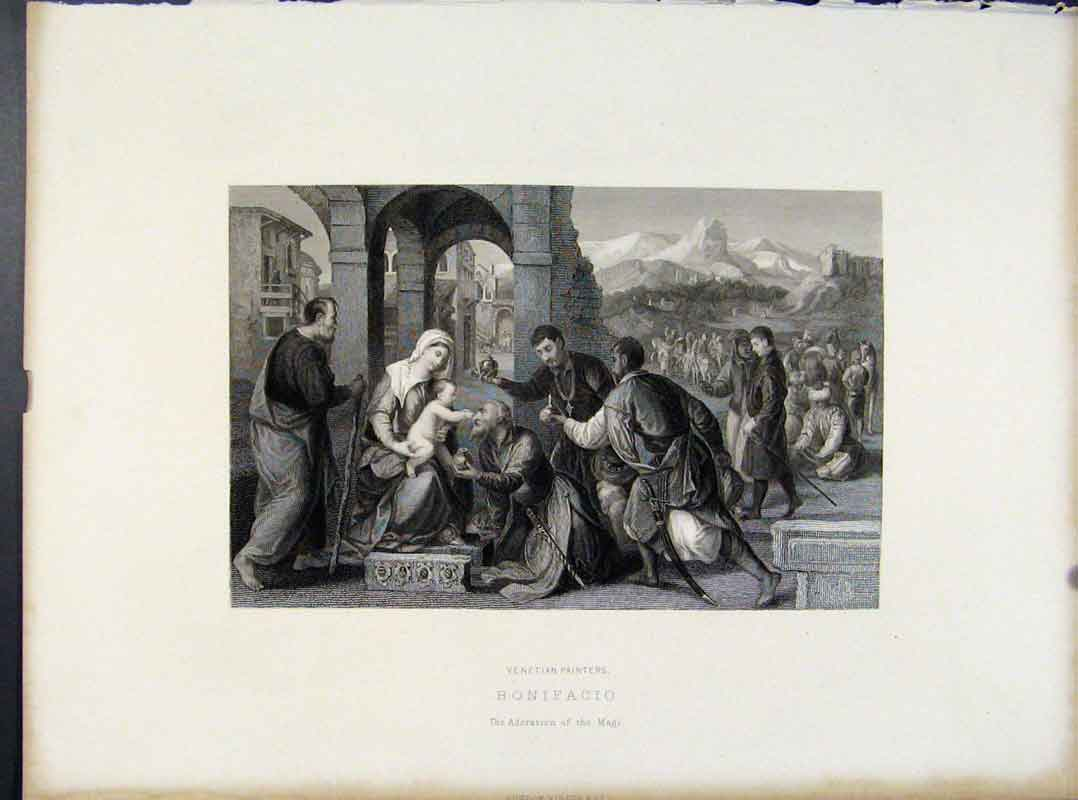 Print Venetian Painters Bonifacio Adoration The Magi C1873 068101 Old Original