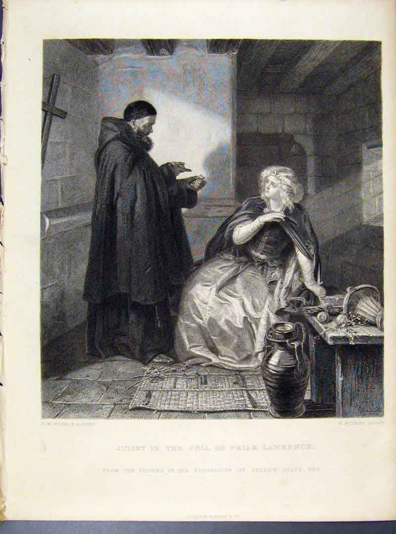 Print Steel Engraving By Ward Juliet In Cell Friar 1873 268101 Old Original