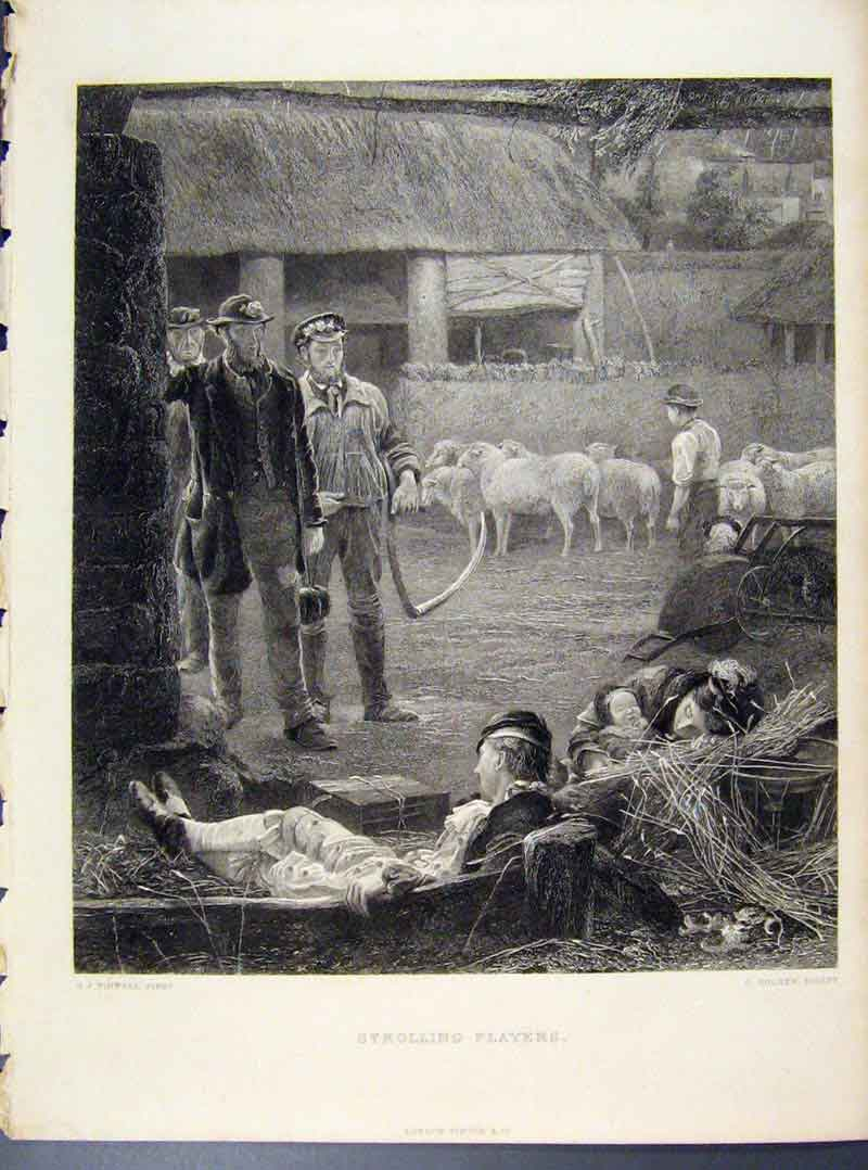 Print Strolling Players Engraved By Pinwell 278101 Old Original