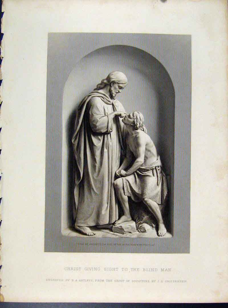 Print Christ Givein Sight To Blind Man Engraved By Artlett 338101 Old Original