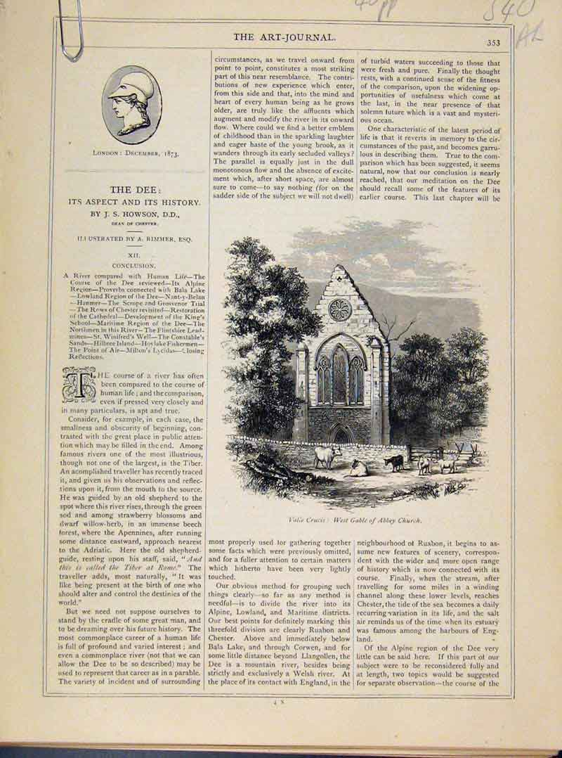 Print The Dee History Aspect Art Journal Engraving 40A8101 Old Original