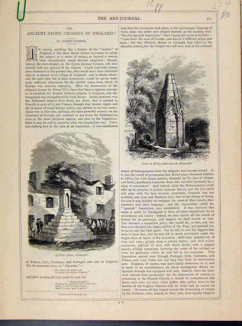 Print Ancient Stone Crosses England Engravings Art Journal 54A8101 Old Original