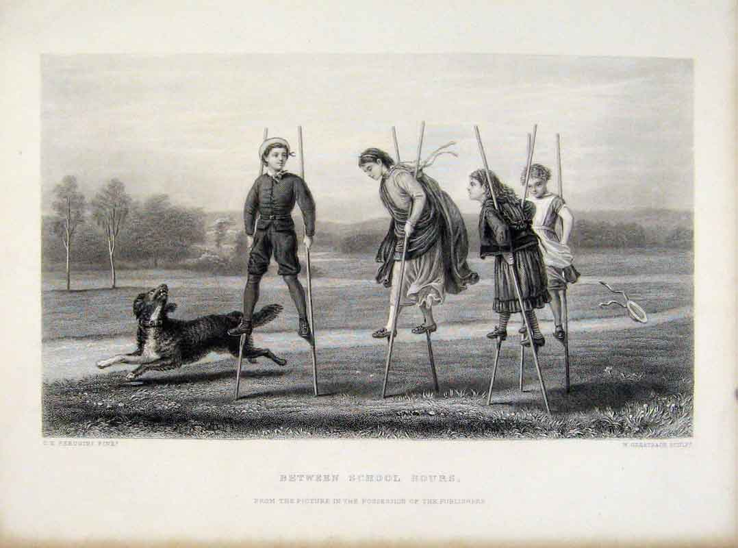 Print Between School Hours Children Stilts C1876 Engraving 028111 Old Original