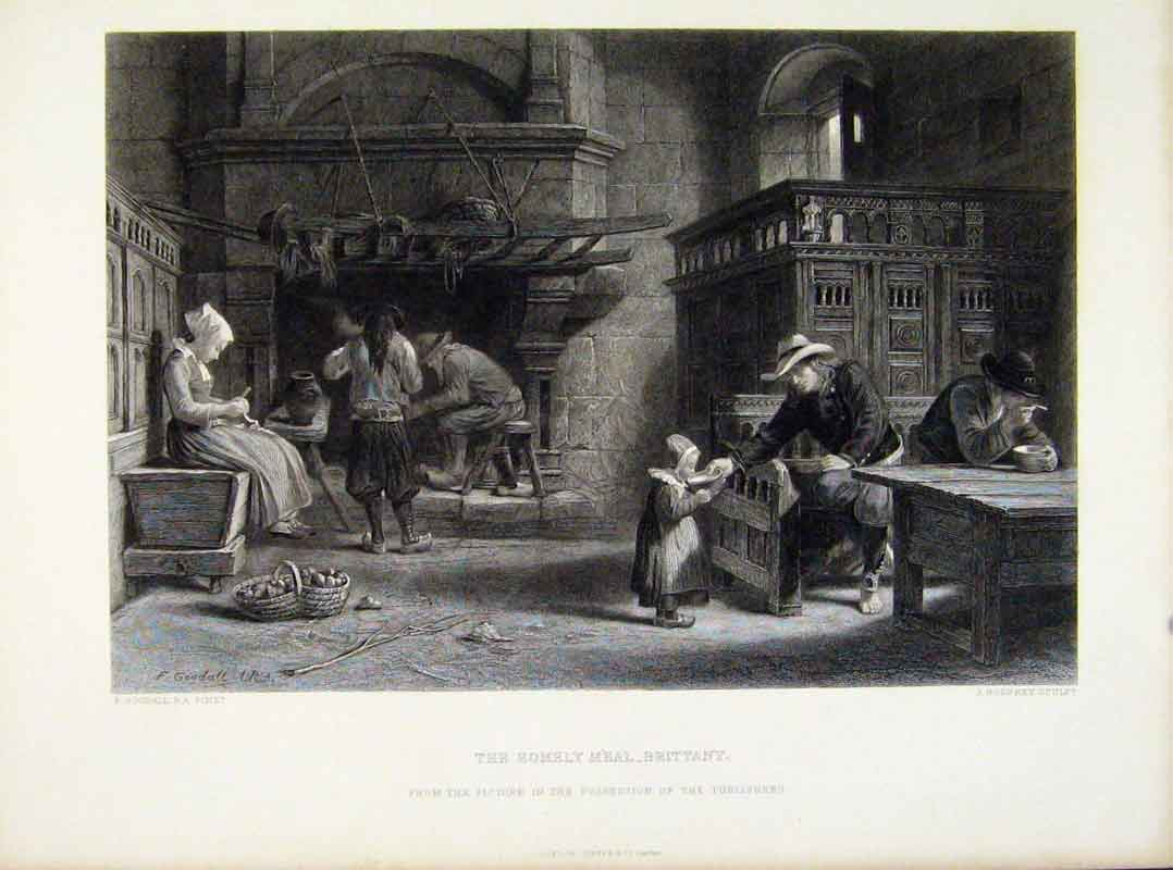Print Homely Meal Brittany C1876 Fine Art Steel Engraving 158111 Old Original