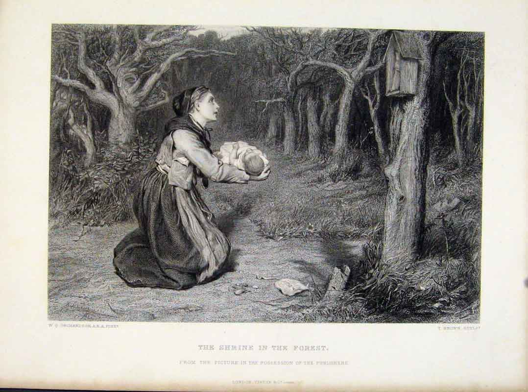 Print Shrine In The Forest Steel Engraving C1876 Art 228111 Old Original