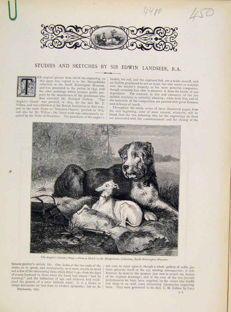 Print Studies Sketches Sir Edwin Lanseet Anglers Guard Dog 50A8111 Old Original
