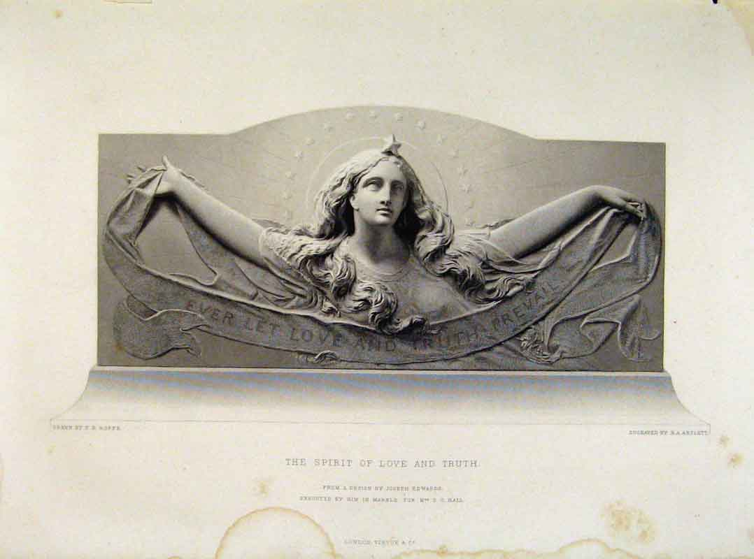 Print The Spirit Love And Truth Engraved By Artlett C1875 038121 Old Original