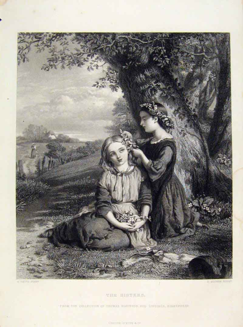 Print Sisters Engraved Plate By Smith C1875 118121 Old Original