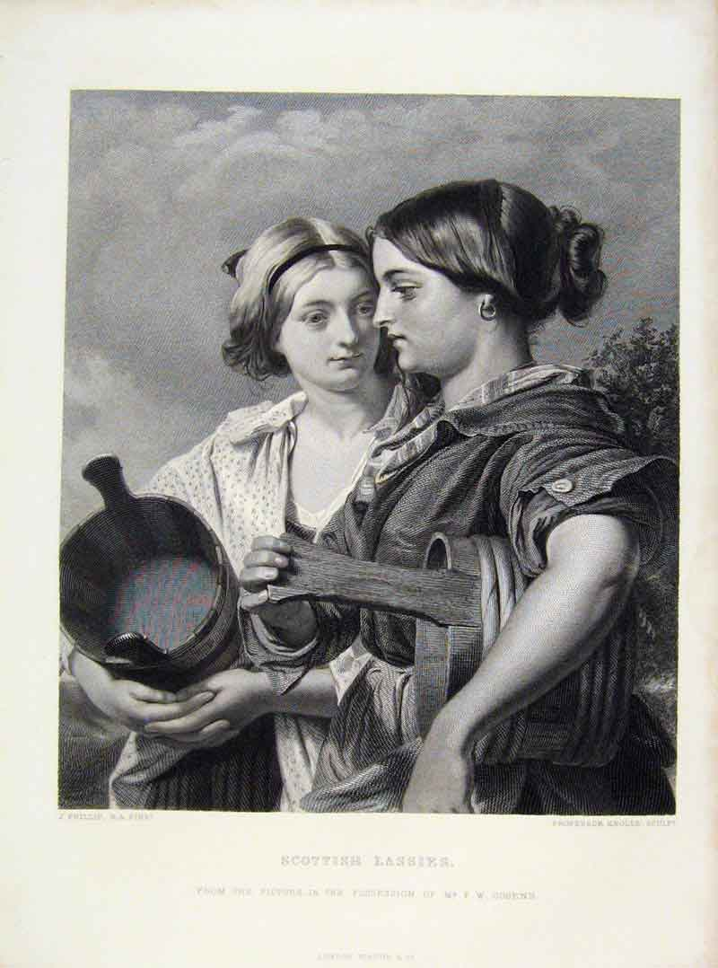Print Scottish Lassies Engraved Art Plate By Phillip C1875 138121 Old Original