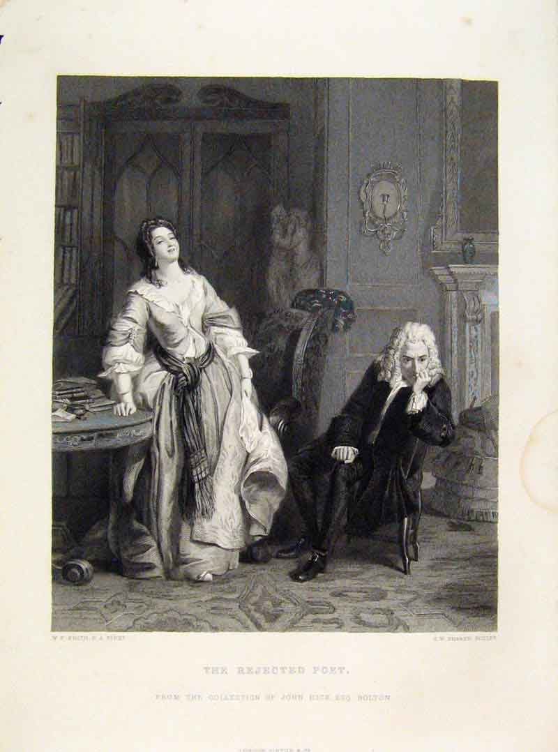 Print Rejected Poet Engraved Plate C1875 Fine 178121 Old Original