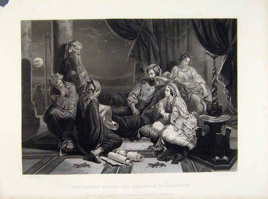 Print Scribes Reading Chronicle To Ahasuerus C1875 198121 Old Original