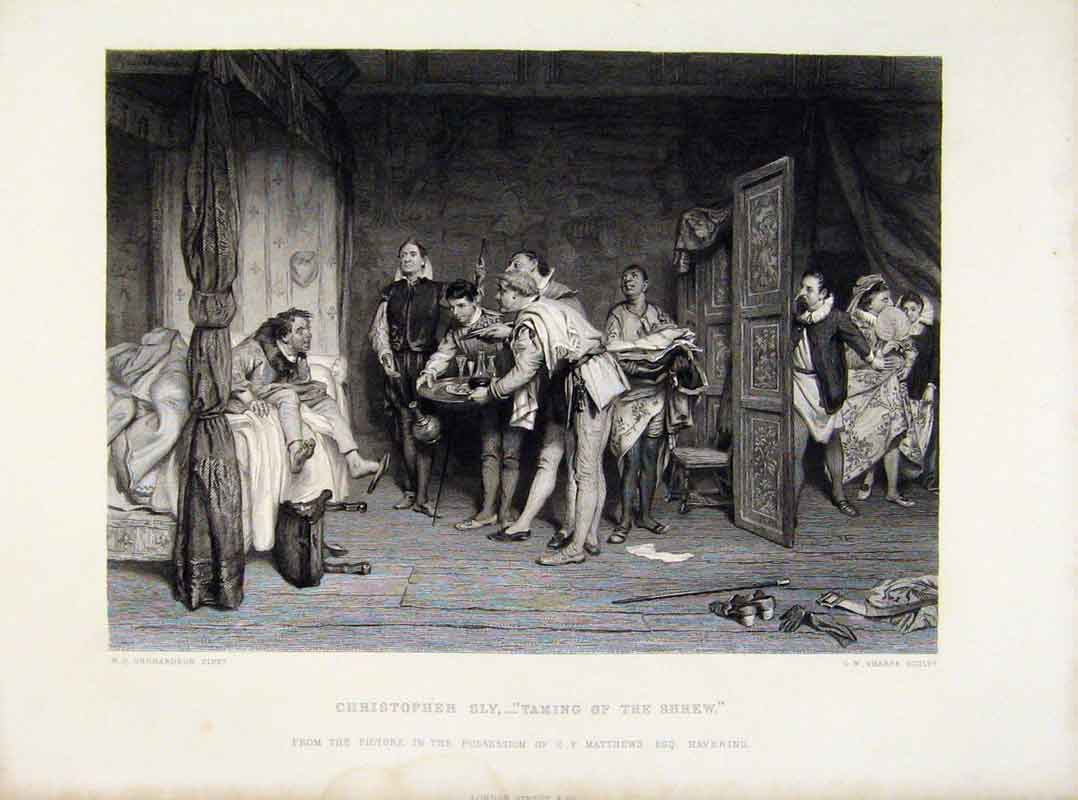 Print Christopher Sly Taming The Shrew Engraved Plate Art 208121 Old Original