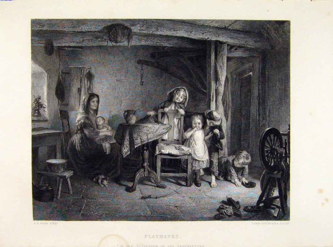 Print Playmates Engraving By Burr Fine Art 1875 218121 Old Original