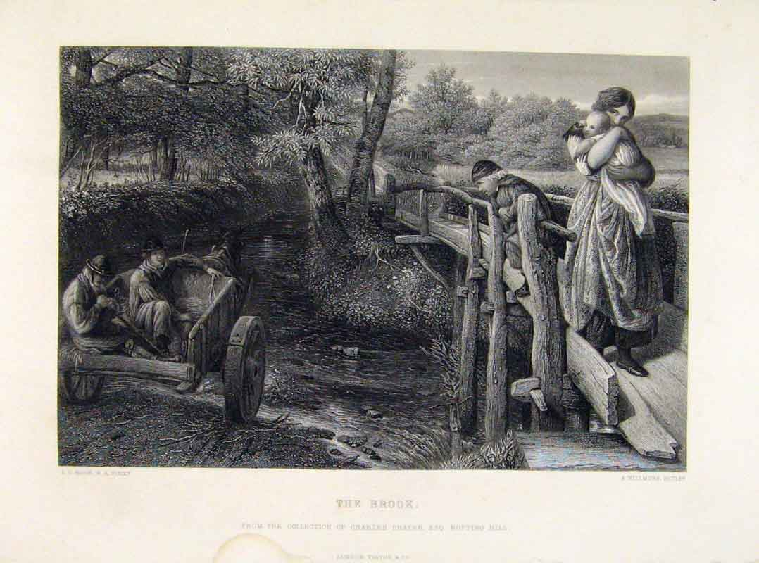 Print Engraved Plate By Hook The Brook Fine Art C1875 268121 Old Original