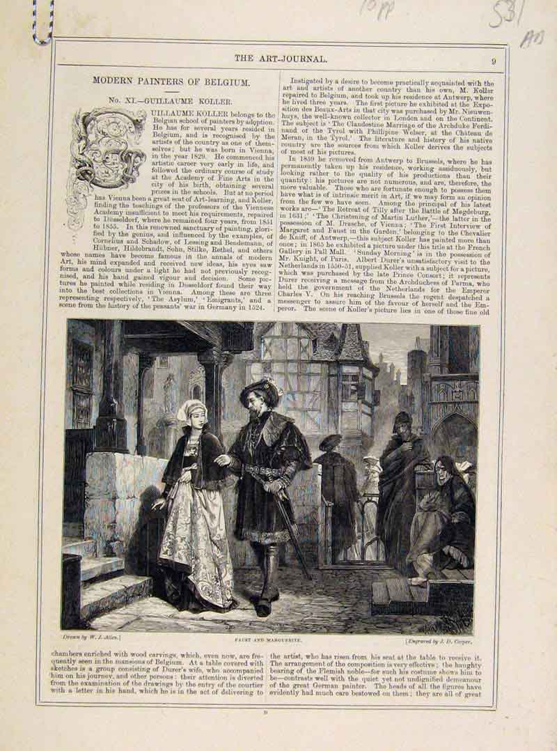 Print Modern Painters Belgium Art Journal C1875 31A8121 Old Original
