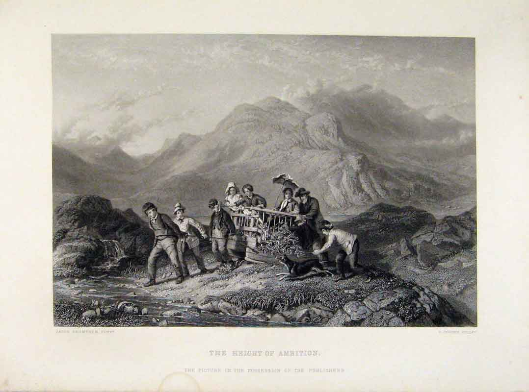 Print Height Ambition Engraved Plate By Thompson 608121 Old Original