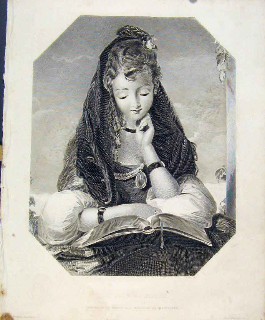 Print Fiar Student Young Girl Engraved Plate By Sangster Art 058131 Old Original