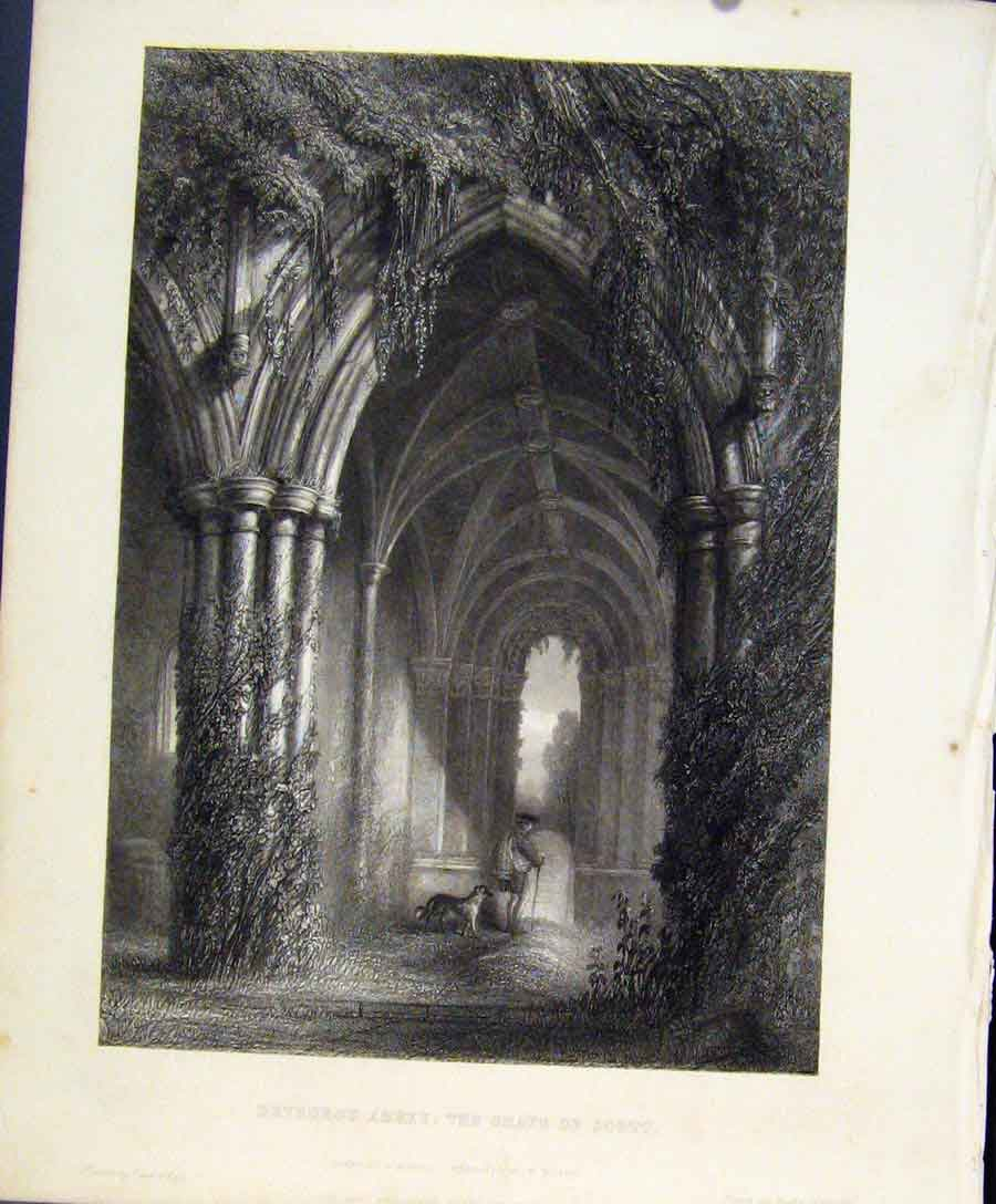 Print Dryburgh Abbey Grave Scott Engraved Plate By Miller 068131 Old Original