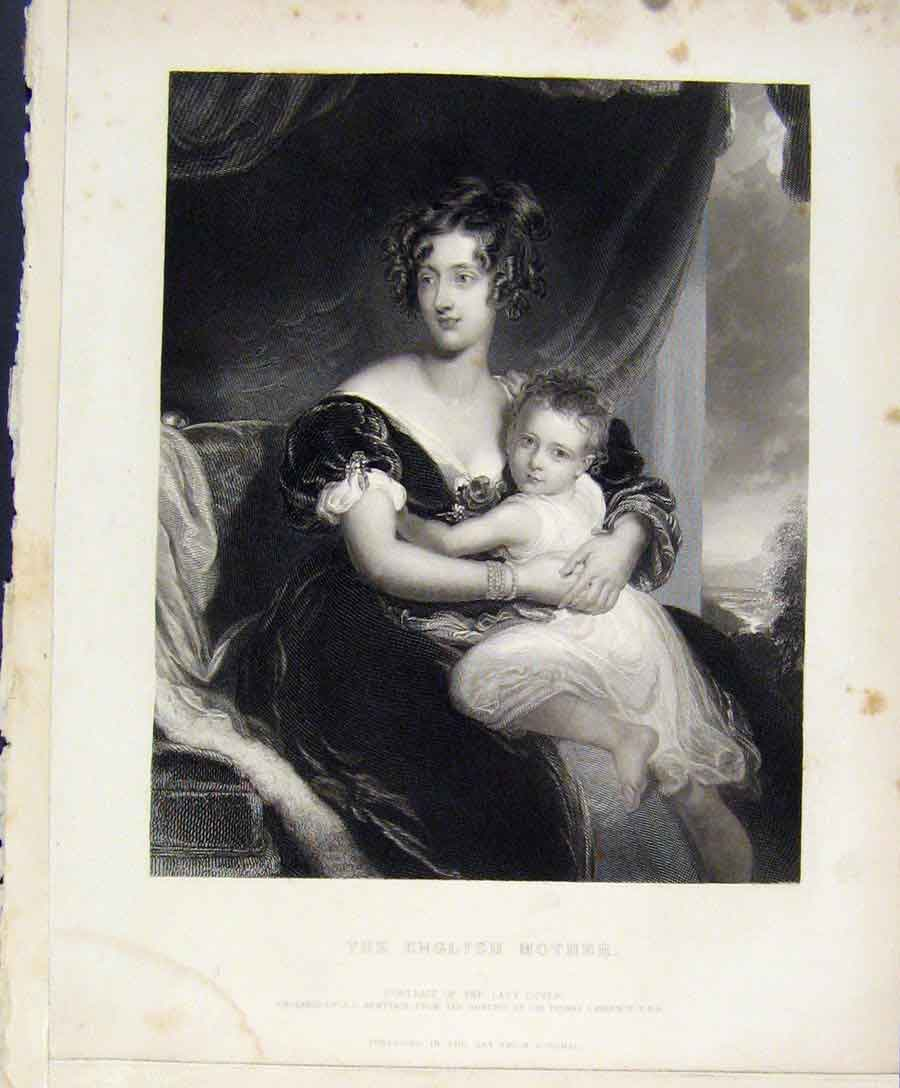 Print English Mother Portrait Lady Dover Engraved By Armytage 078131 Old Original