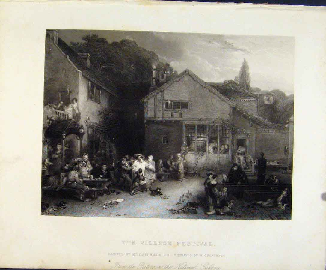 Print Village Festival Engraved Plate By Greatbach C1847 Art 118131 Old Original