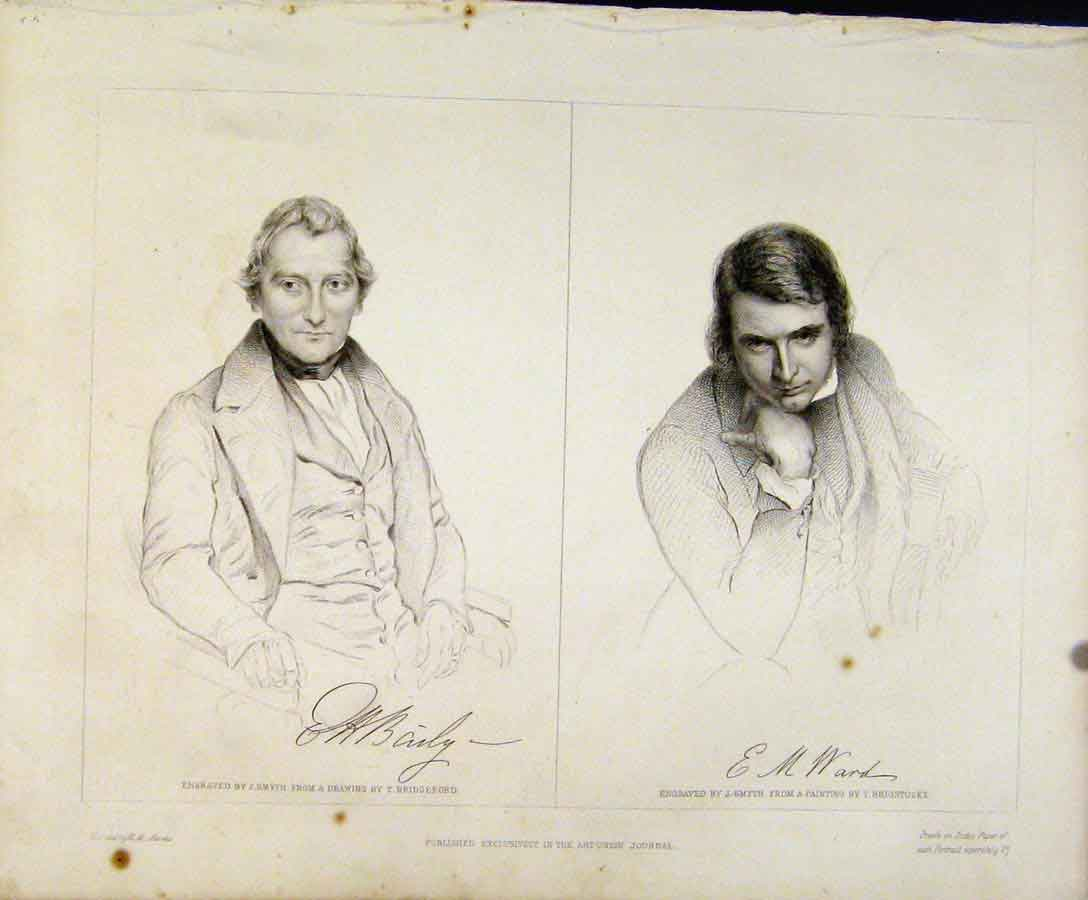 Print Signatured Portraits Engraved Plates By Smyth 188131 Old Original