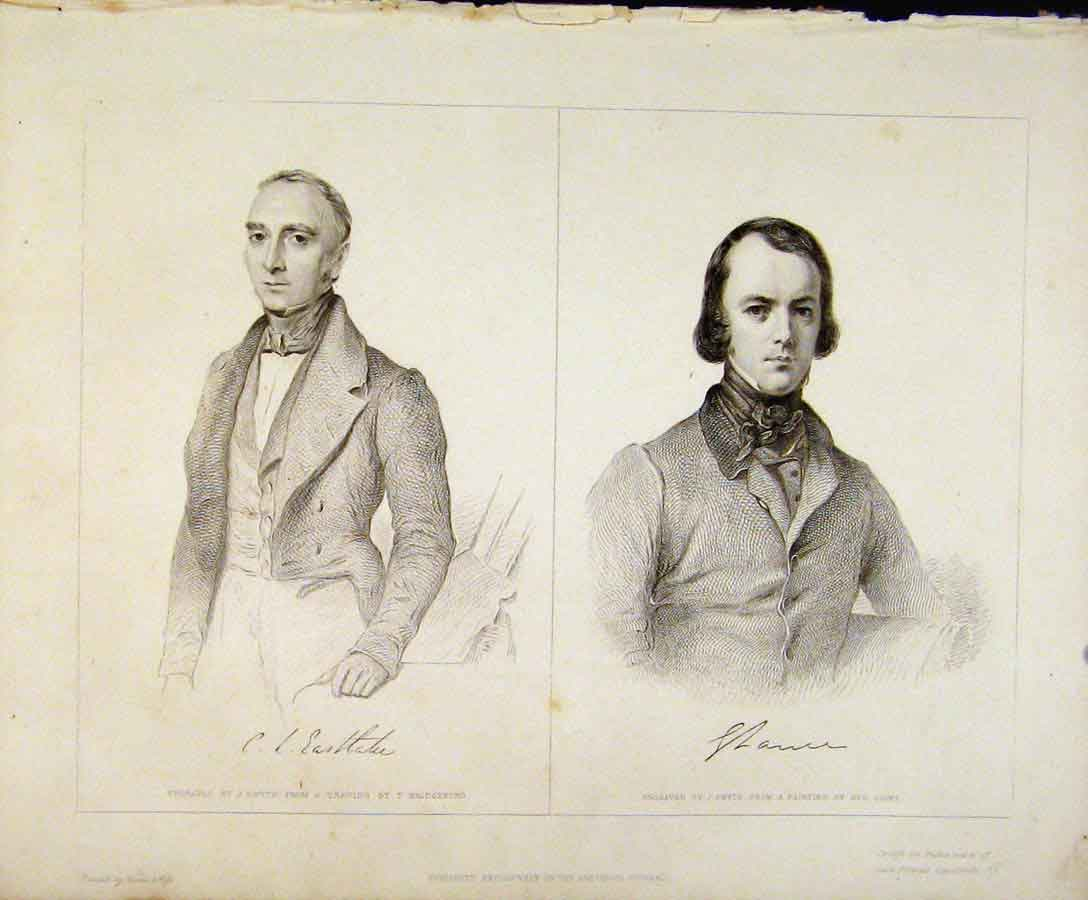 Print Smyth Engraved Portrait Plates C1847 Art 208131 Old Original