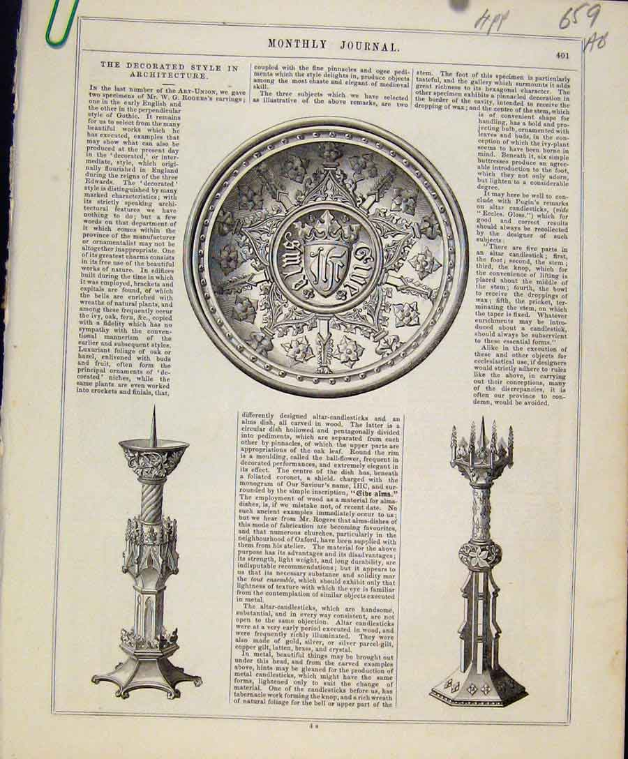 Print Art Union C1847 Decorated Style Architecture 59A8131 Old Original