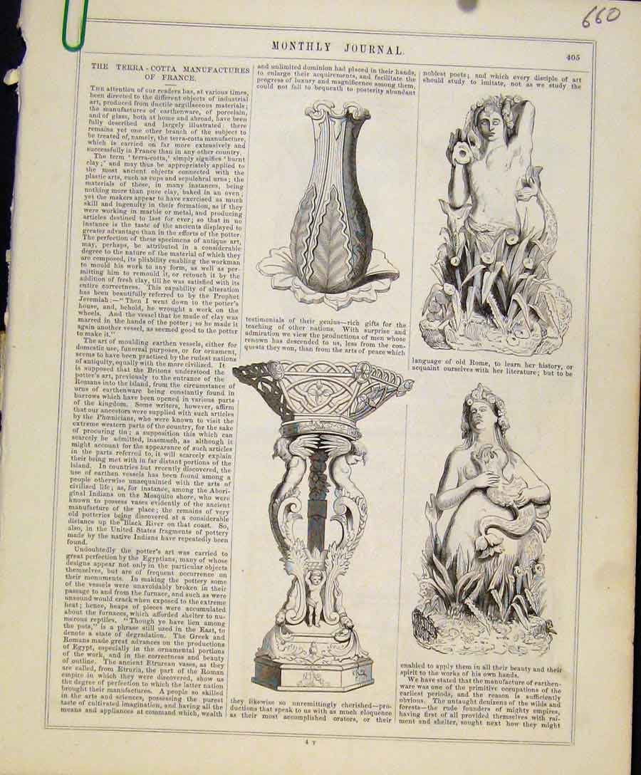 Print Terra Cotta Manufactures France C1847 Art Union 60A8131 Old Original