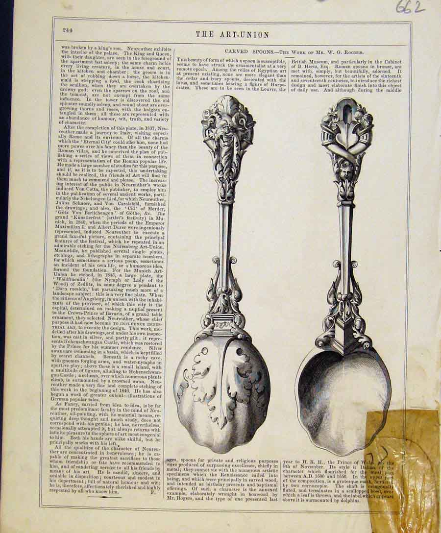 Print Art Union C1847 Carved Spoons By Rogers 628131 Old Original