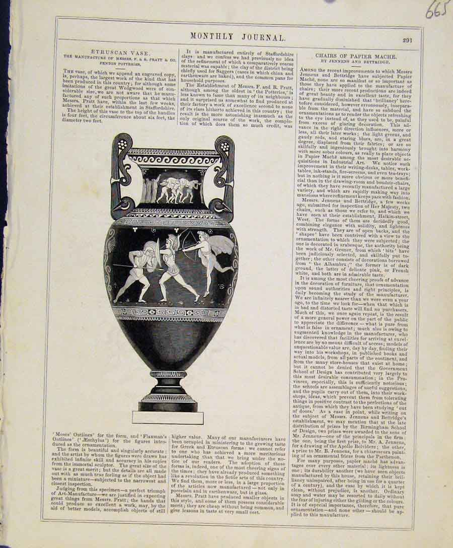 Print Monthly Journal Art Union Etruscan Vase C1847 658131 Old Original